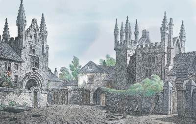 Colour applied by Graphic Words to historic etching of Tavistock Abbey gatehouse