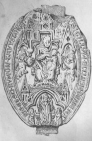 Illustration of the seal of Tavistock Abbey - before colour added by Graphic Words