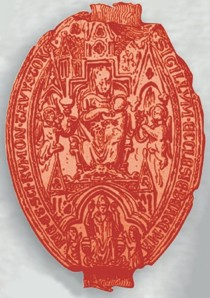 The seal of Tavistock Abbey - image enhanced and coloured by Graphic Words