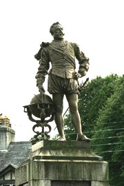 Photograph of statue of Sir Francis Drake - before clipping from background