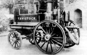Historic black and white photograph of Tavistock's fire engine - before colour added
