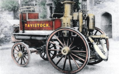 Historic photograph of Tavistock's fire engine, with colour washes and tinting digitally applied by Graphic Words