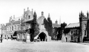 Historic photograph of Tavistock - black and white image before colour wash applied