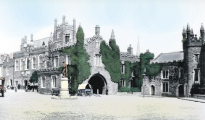 Historic photograph of Tavistock town square, with hand tinting digitally applied by Graphic Words