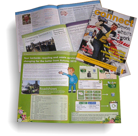 West Devon Connect newsletter  - lay out and printing by Graphic Words